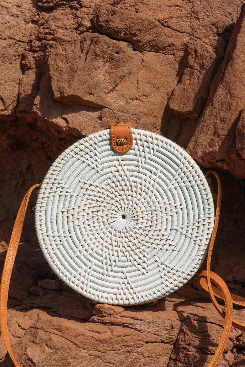 Boho accessories: White woven circular purse