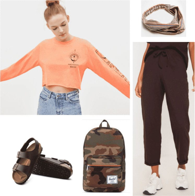 Hoseok inspired outfit with orange top, camo backpack, birkenstocks, headband, joggers
