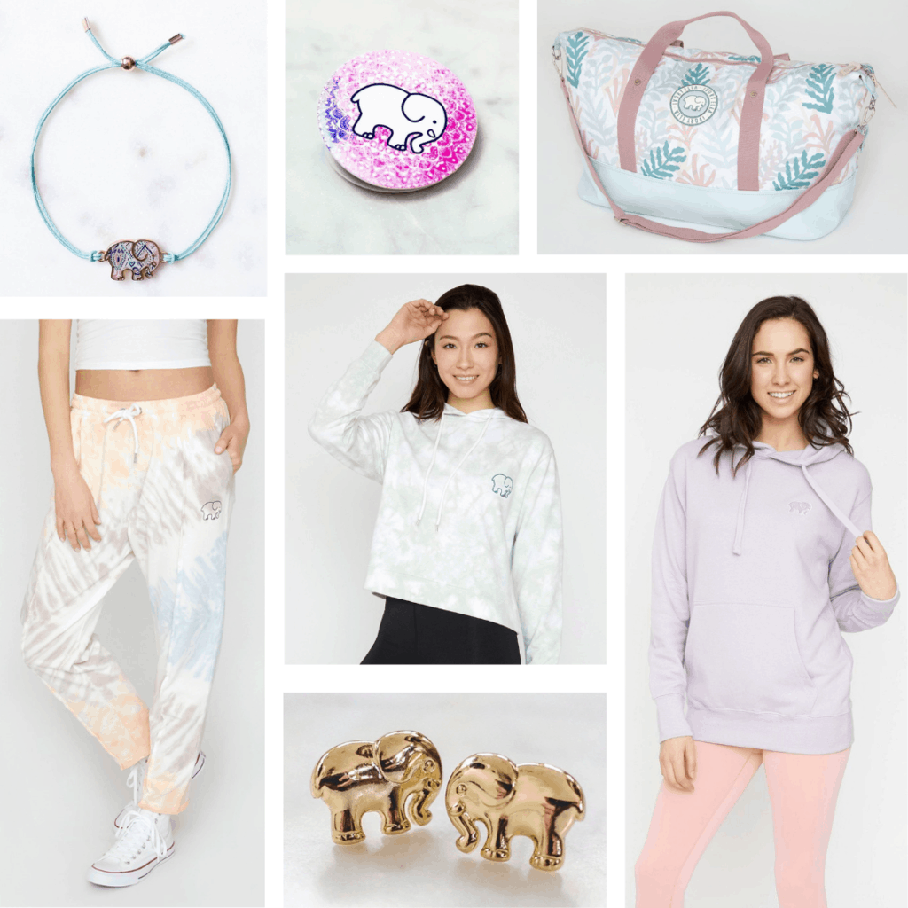 Ivory Ella clothes and accessories: Elephant bracelet, earrings, tie dye sweats, tie dye cropped hoodie, lavender oversized hoodie, weekender bag, pop socket