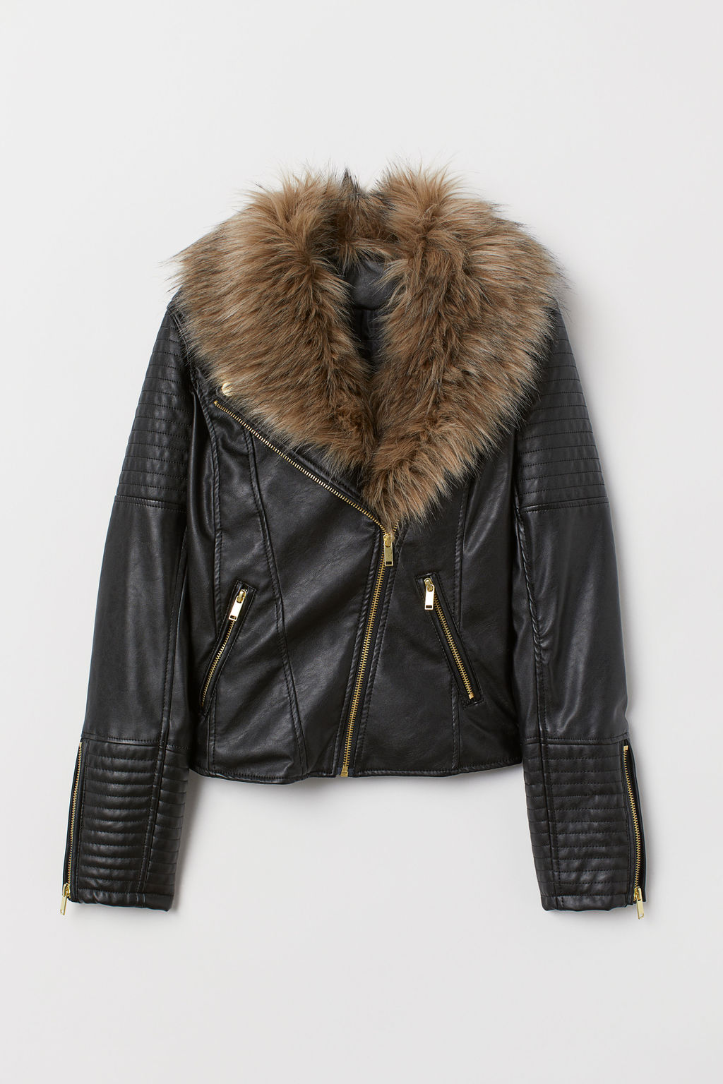 black faux leather jacket with fur trim collar