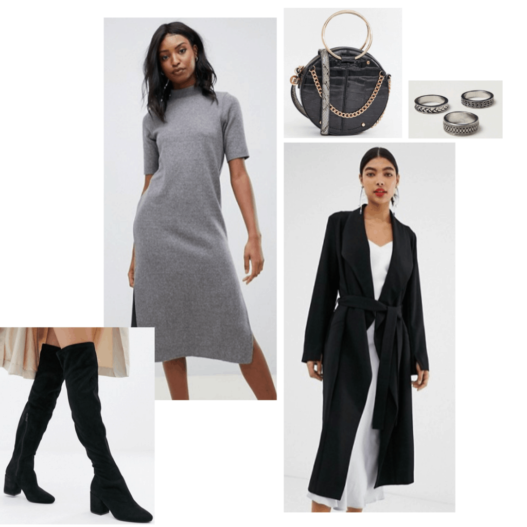 Sansa Stark inspired outfit with gray dress, over the knee boots, long cardigan, round bag,