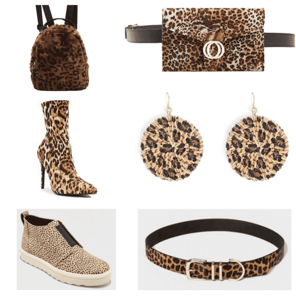 Leopard Accessories: Leopard Fur Backpack, Leopard Sock Booties, Leopard Sneakers, Leopard Belt Bag, Leopard Earrings, Leopard belt