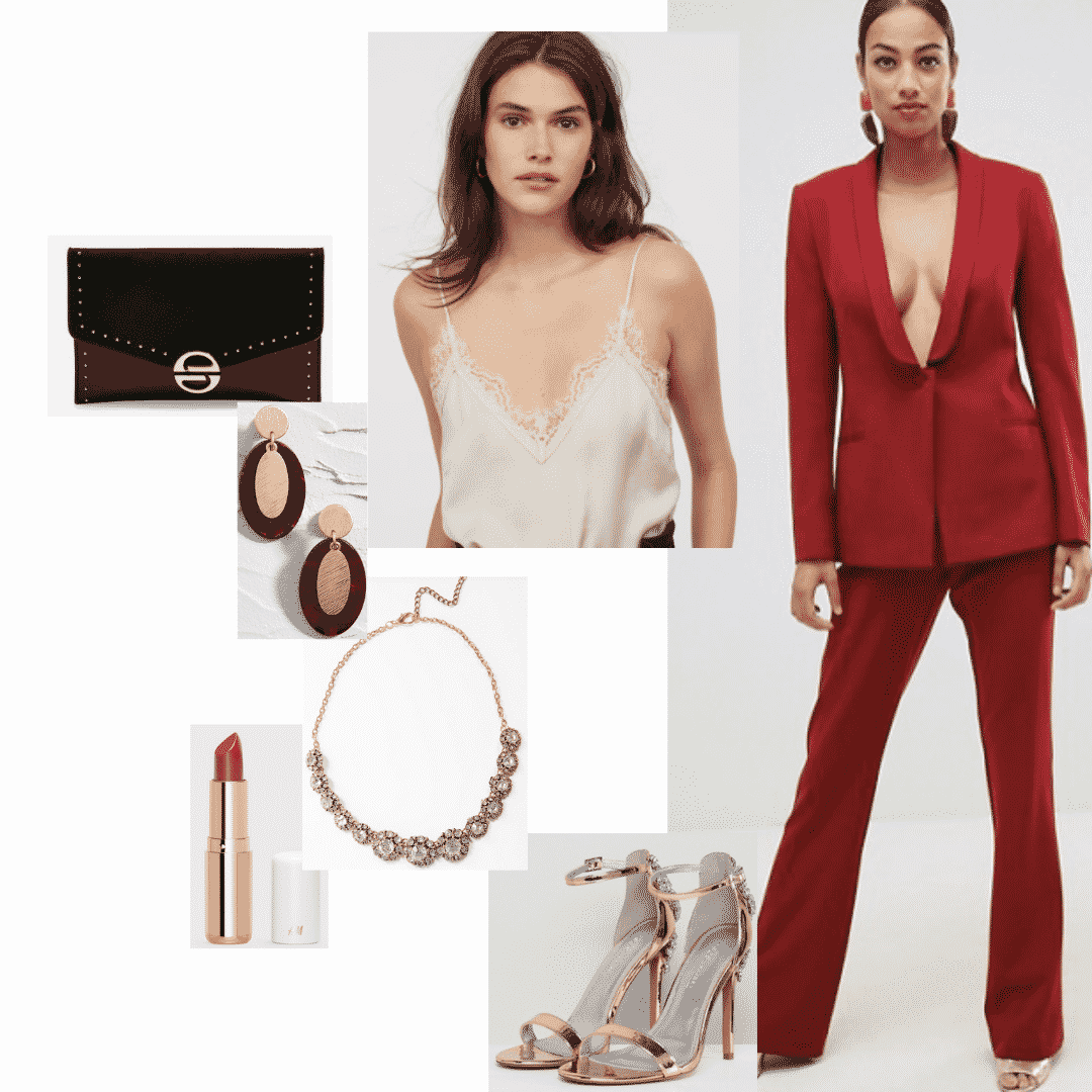 Cersei Lannister outfit with red suit, beige cami, red lipstick, gold jewelry