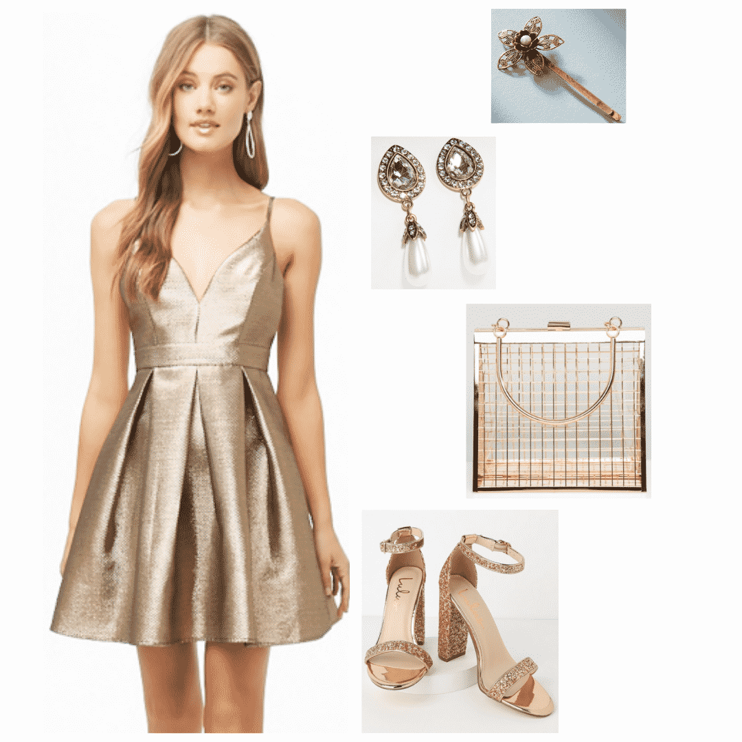 Margaery Tyrell inspired outfit -- gold dress with low neck, gold glitter heels, gold purse, pearl earrings