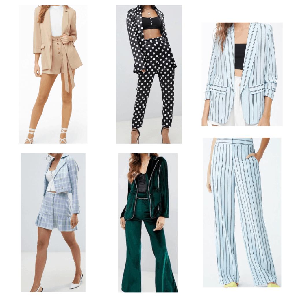 Blazer Sets: Tan Blazer and Shorts Set, Plaid Blazer and Skirt Set, Polka Dot Blazer and pants set, Velour Blazer and Pants Set, Striped Blazer and Pats Set