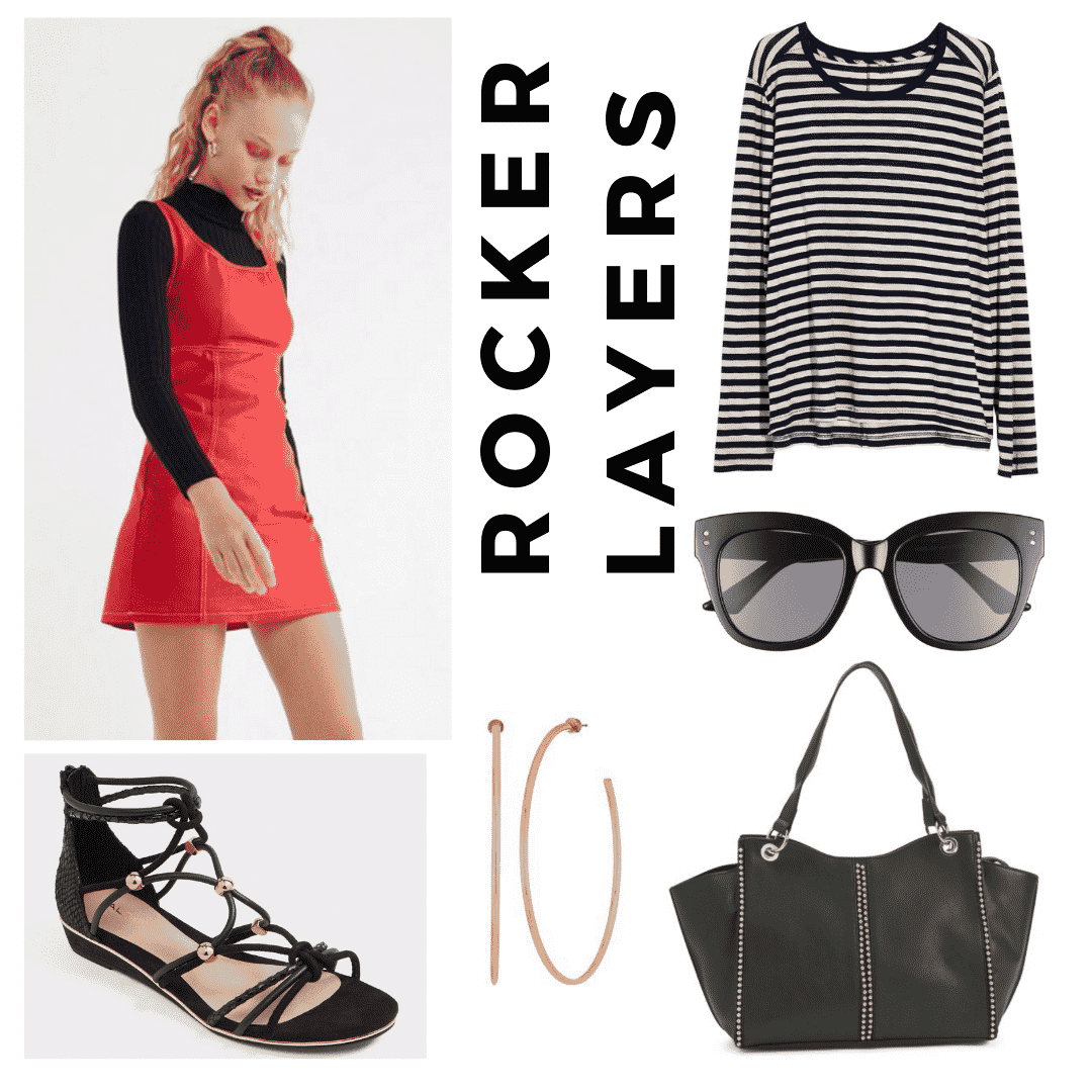 outfit panel with red jumper dress, black and white striped long sleeve tee shirt, oversized black sunglasses, gold hoop earrings, a black shoulder bag, and black sandals