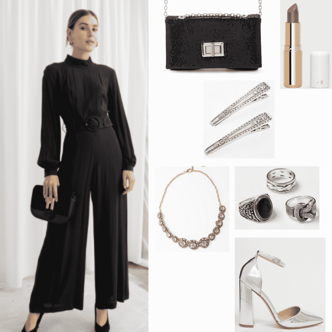 Cersei Lannister outfit with all black jumpsuit, silver jewelry