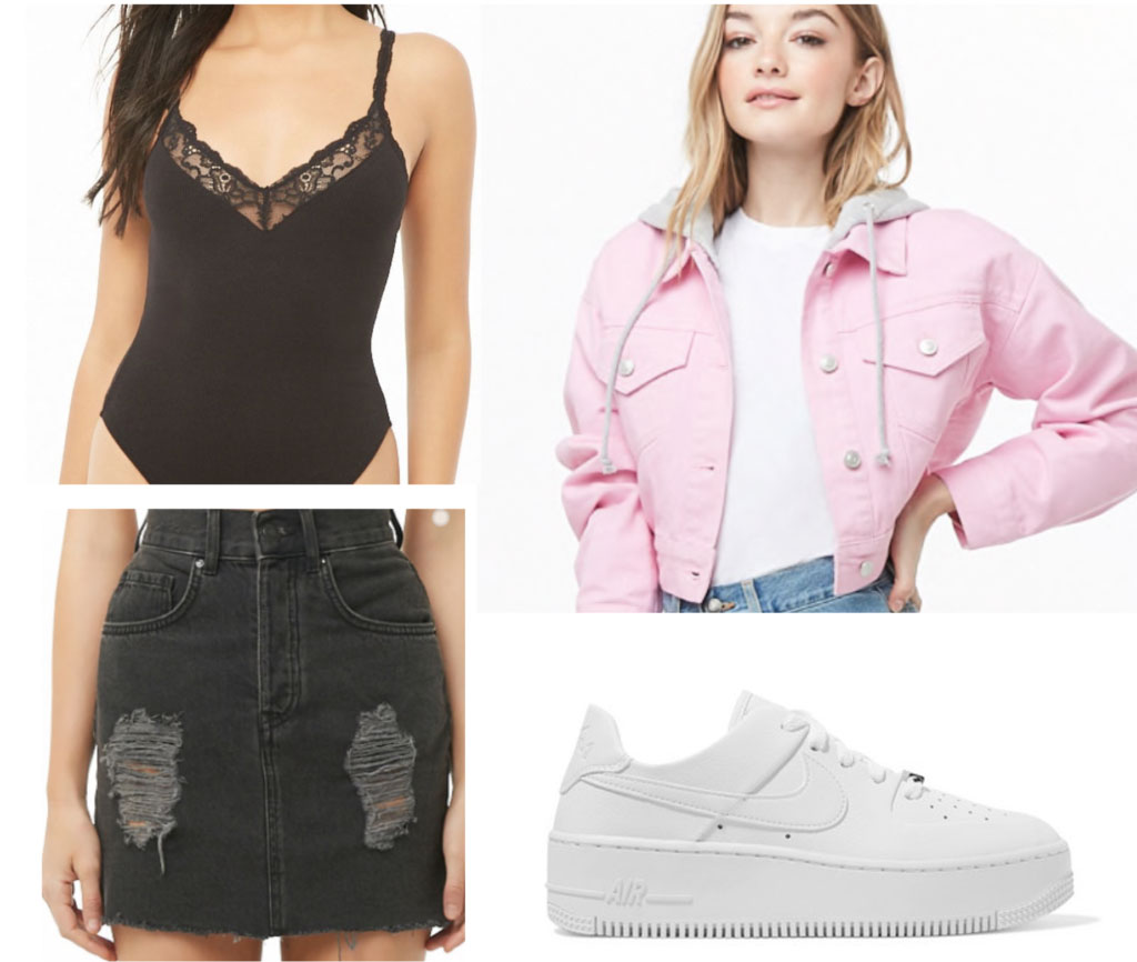 Casual night outfit inspired by Small Talk - pink denim jacket, black skirt, bodysuit, white sneakers