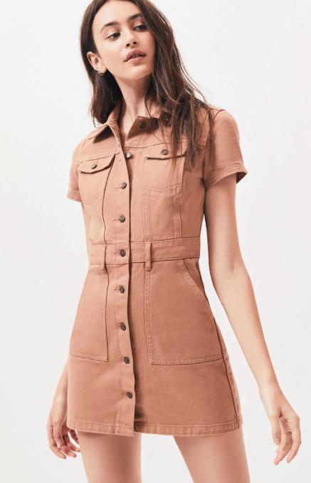 model in utility mini dress