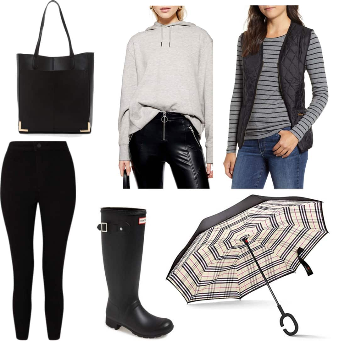 Winter rainy day outfit with black leggings, gray hoodie, black quilted vest, Hunter boots, black tote bag, plaid umbrella