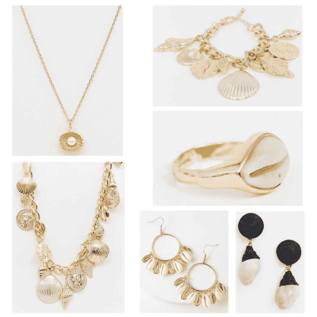 Spring 2019 jewelry trends -- Shell Jewelry: Clam necklace, shell and coin necklace, coin charm bracelet, shell ring, shell hoop earrings, shell drop earrings