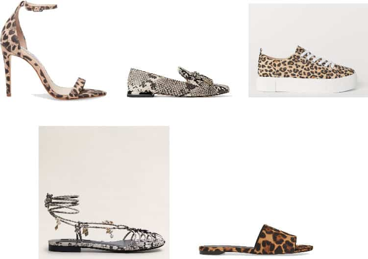 (Top Row, L-R) Leopard-Print Stiletto Sandals with Ankle Strap, Snake-Print Loafers with Tassels, Leopard-Print Platform Sneakers (Bottom Row, L-R) Snake-Print Sandals with Shells on Tie-Straps, Leopard-Print Calfhair Slides