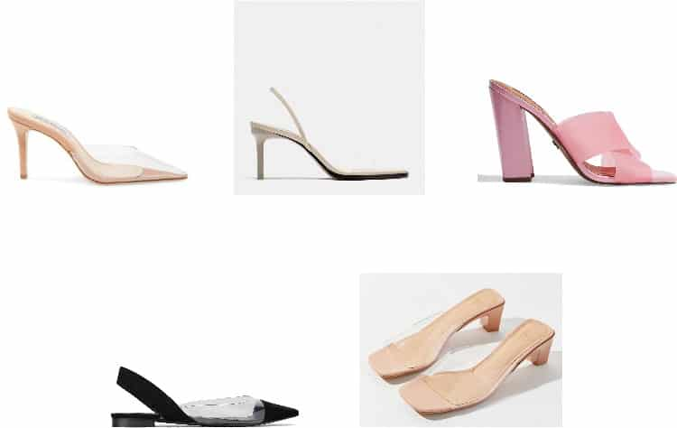 Spring 2019 accessory trends: Clear shoes (Top Row, L-R) Heeled Pointed-Toe Clear Mules, Heeled Clear Slingback Sandals, Pink Heeled Clear Slides (Bottom Row, L-R) Clear Slingback, Pointed-Toe Flats with Black Details, Chunky Kitten Heel Clear Sandals