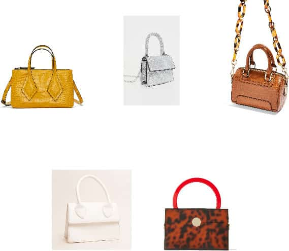 (Top Row, L-R) Yellow Croc-Embossed Mini Bag, Silver Glitter Top-Handle Micro Bag with Chain Strap, Mini Cognac Brown Croc-Embossed Bowler Bag with Tortoise Shell Patterned Chain (Bottom Row, L-R) White Top-Handle Mini Bag , Top Handle Animal-Print Box Bag with Red Top-Handle and Gold Circle Closure