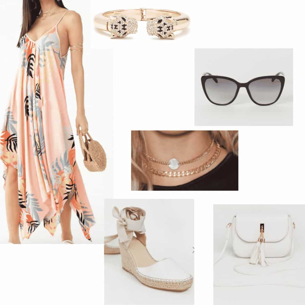 Tropical spring break vacation outfit with sundress, layered necklaces, sunglasses, bracelet, espadrilles, white tassel bag