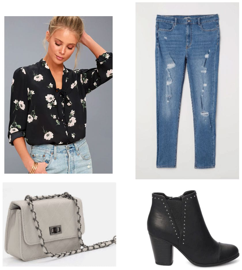 Winter to spring transition outfit with cute floral blouse, ripped jeans, chain strap bag, ankle boots