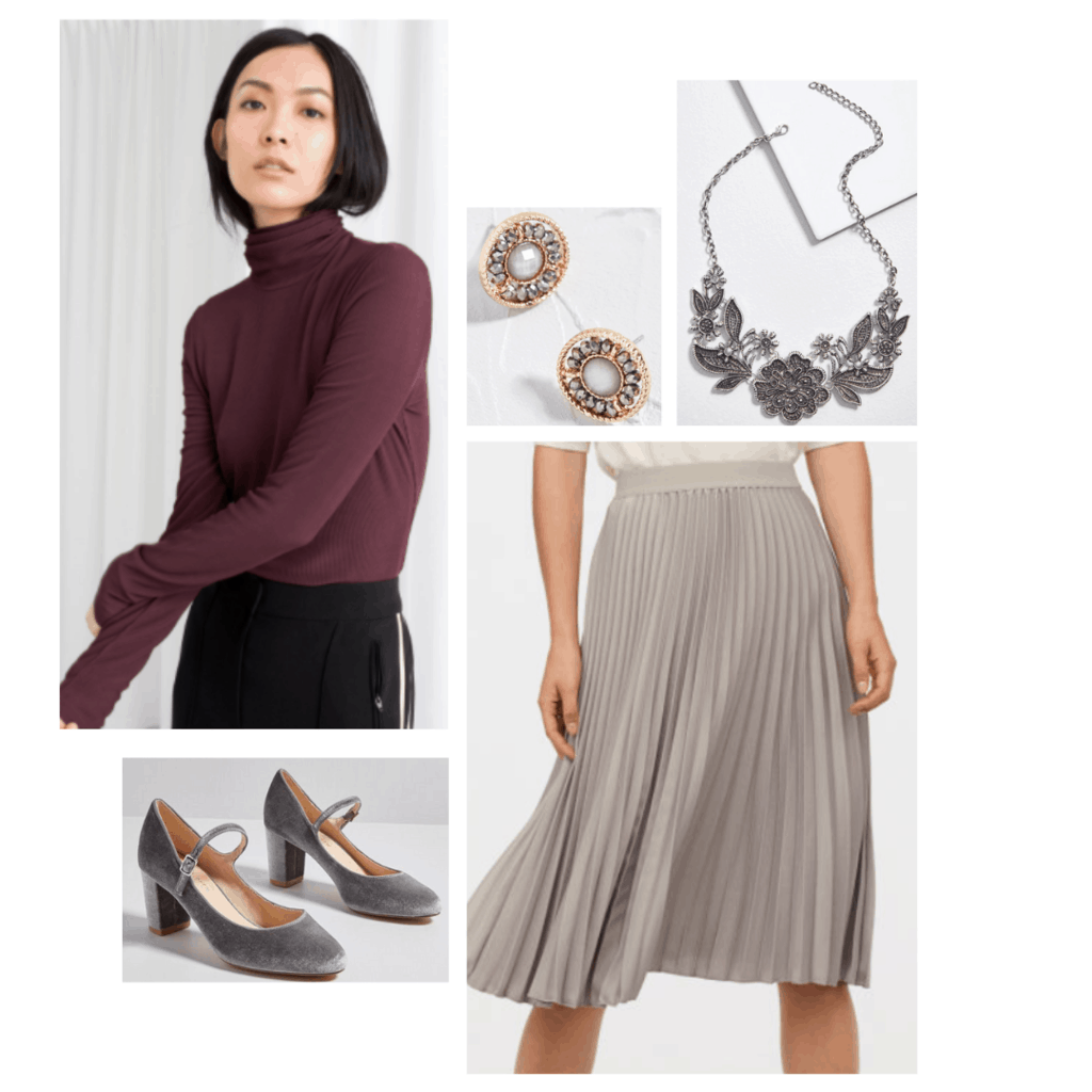 Margaery Tyrell style season 6 inspired outfit with burgundy turtleneck, gray pleated skirt, gray mary-jane heels, gold earrings, silver necklace