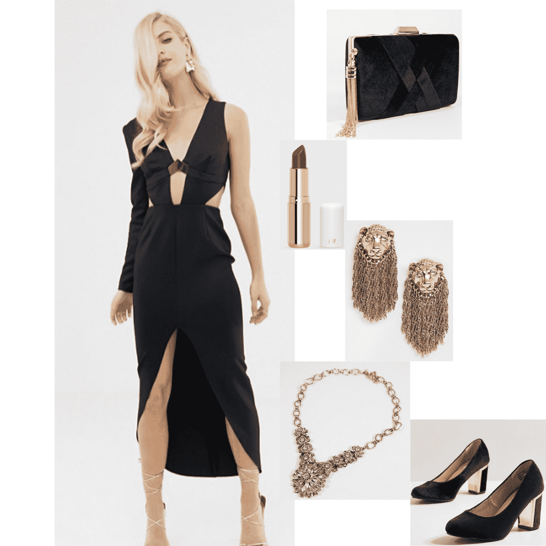 Cersei Lannister outfit with black dress, gold lion jewelry, black heels