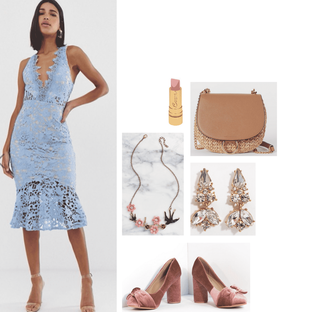 Outfit inspired by Margaery Tyrell from Game of Thrones during seasons 2 and 3: Low v-neck lace dress in blue, rose jewelry, velvet heels