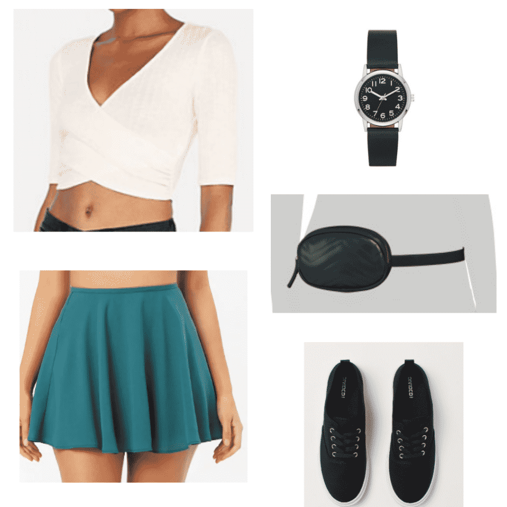 Cute spring break outfits: Circle skirt, watch, sneakers, wrap top, fanny pack