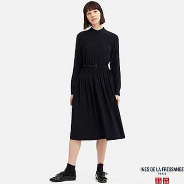 Georgette Gathered Long-Sleeved Dress from Uniqlo