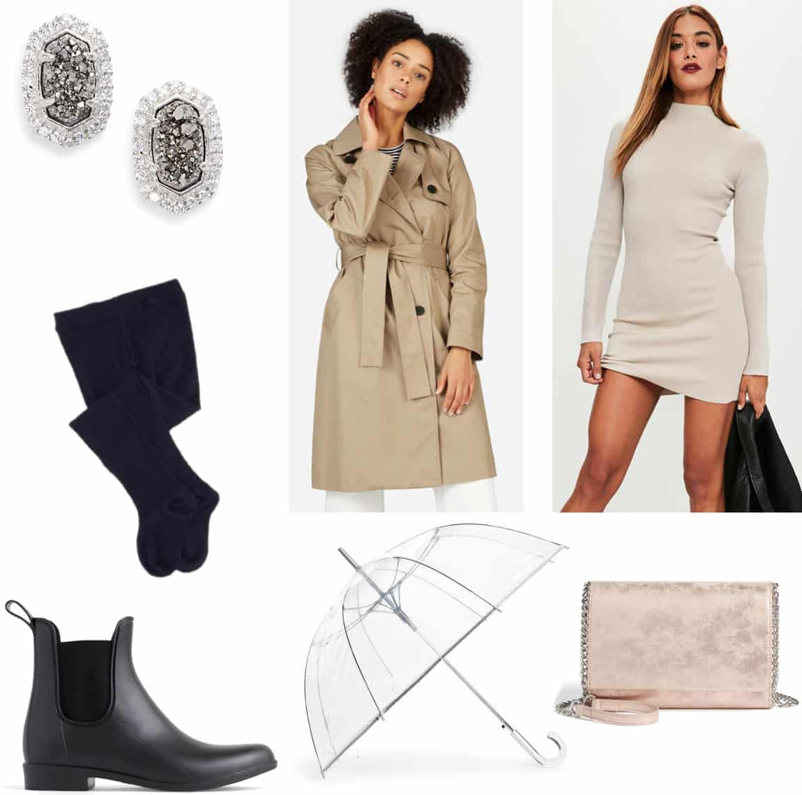 Winter rainy day outfit with sweater dress, black tights, tan trench coat, black rain boots, clutch bag with chain strap, stud earrings