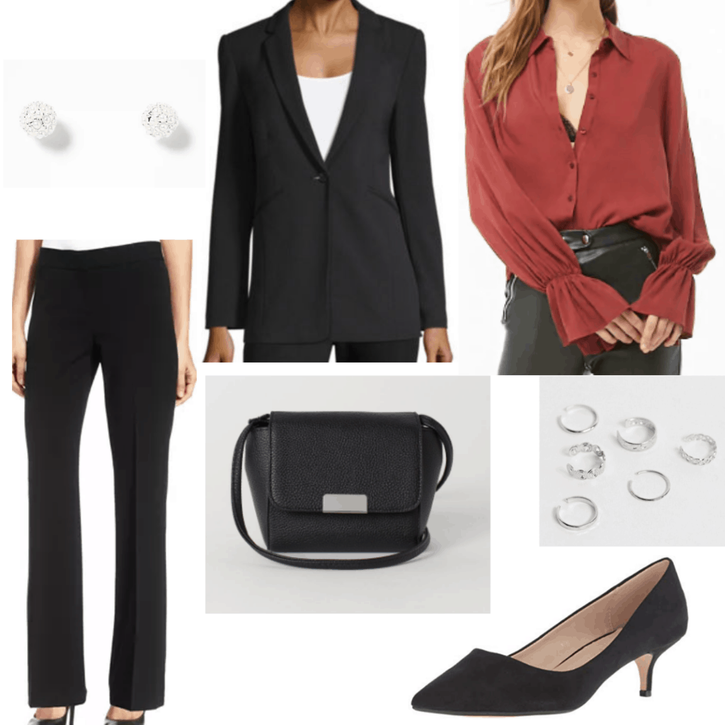 Outfit for a work conference with black blazer, black dress pants, rust long sleeve, mini bag, kitten heels, earrings and rings