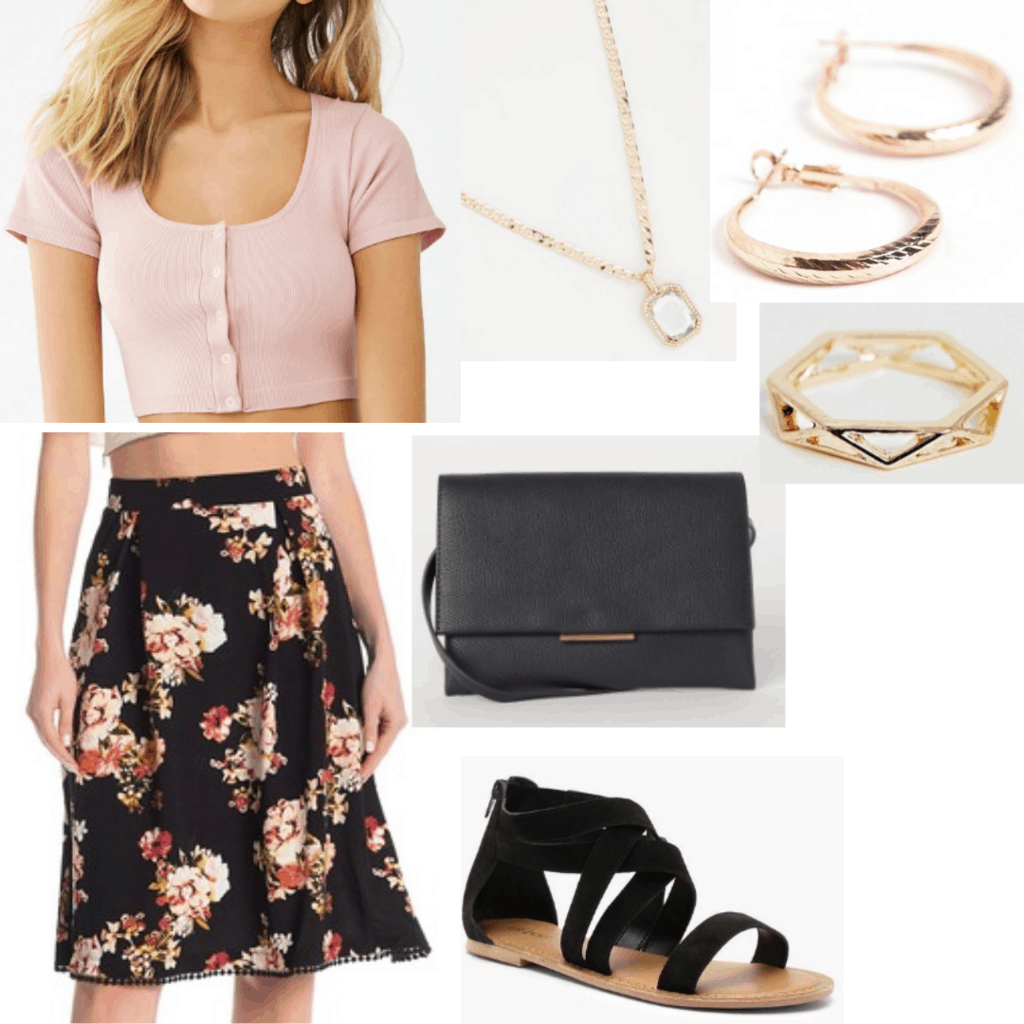 Family barbecue outfit with floral skirt, light pink crop top, gold jewelry, black crossbody bag, black sandals