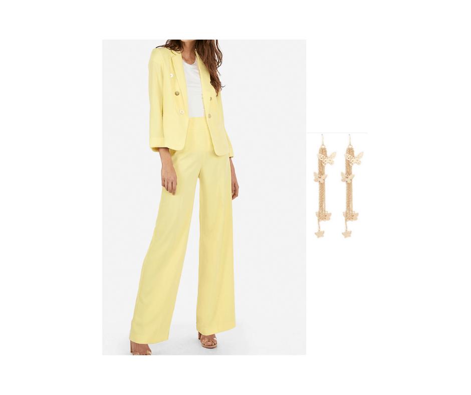 pastel pantsuit and earrings