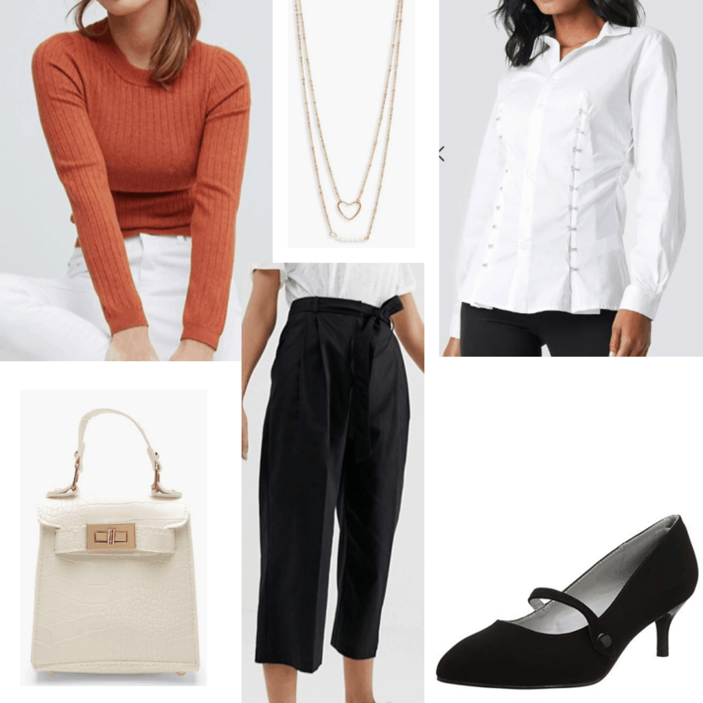 What to wear to a work conference: Outfit with black pants, rust long sleeve shirt, necklace, kitten heels