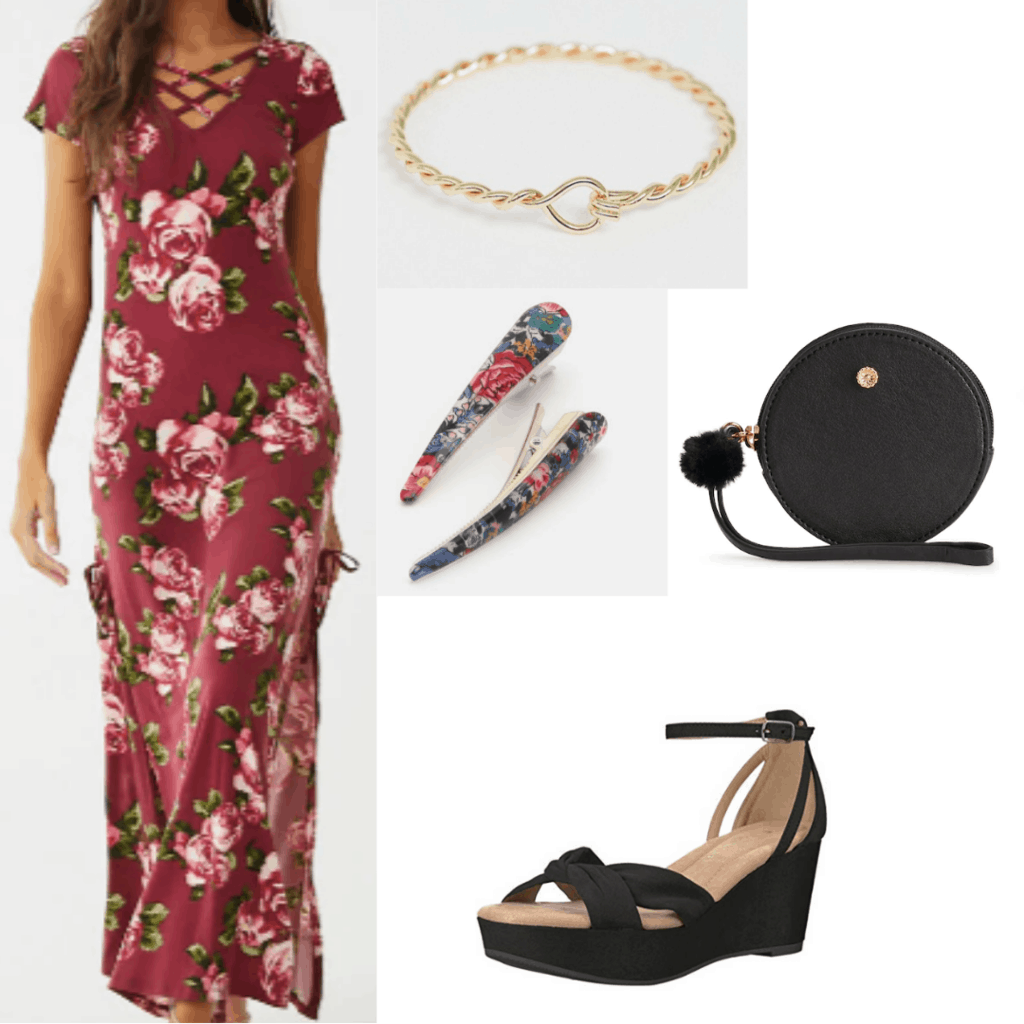 Family barbecue outfit with floral maxi dress, gold bracelet, hair clips, wedges