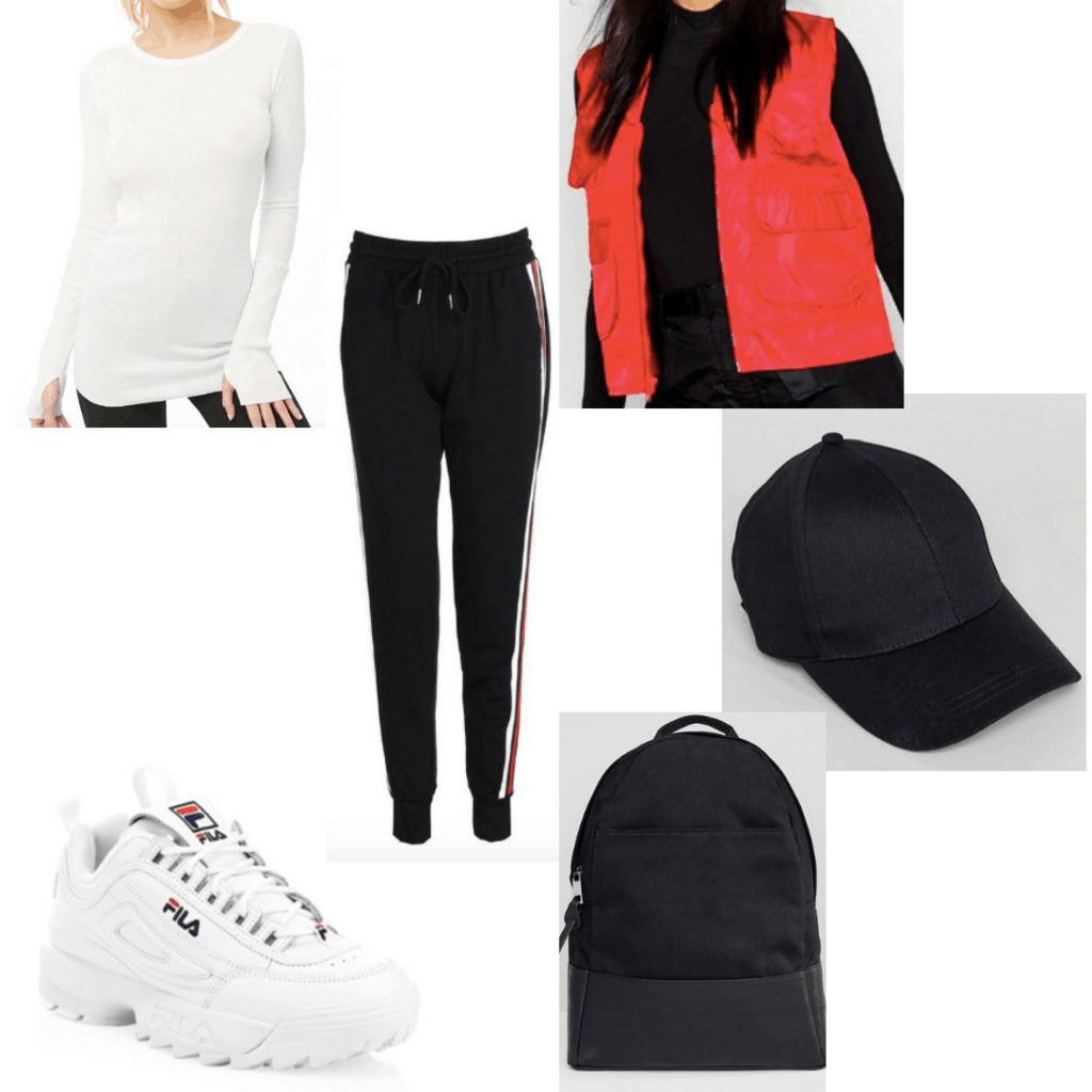 White fila sneakers outfit with long sleeve top, red vest, black hat, black backpack, striped joggers