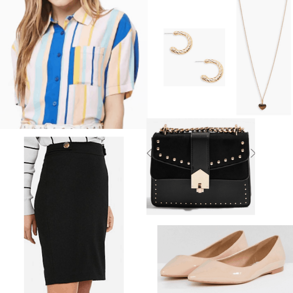 Outfit for a work conference with black pencil skirt, nude flats, studded bag, striped shirt, simple jewelry