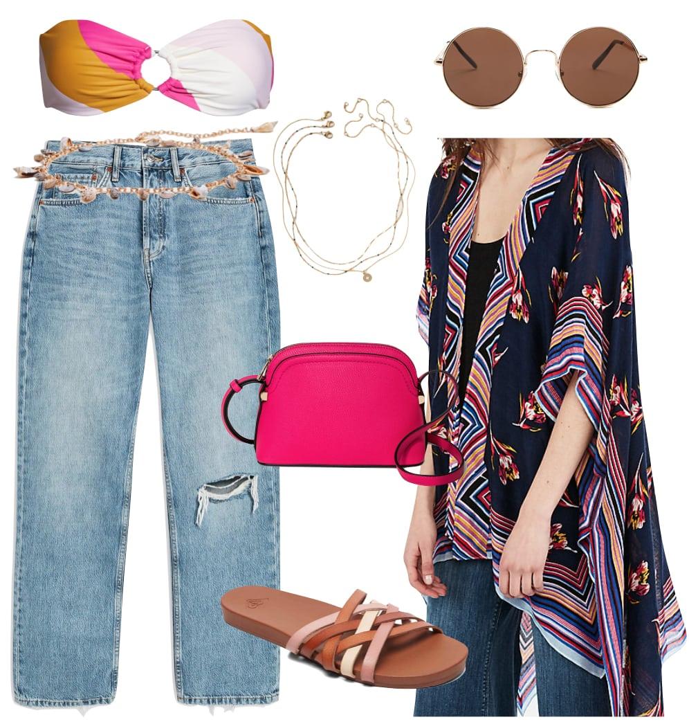 Alessandra Ambrosio Outfit: rainbow striped bandeau bikini top, colorful striped kimono, straight leg jeans, shell chain belt, fuchsia crossbody bag, round oversized sunglasses, layered necklaces, and crisscross strap flat sandals