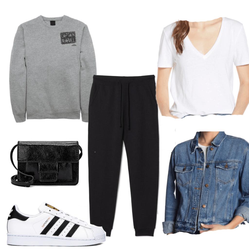 Bonus Outfit Joggers, t-shirt, sweatshirt, jacket, sneakers, purse