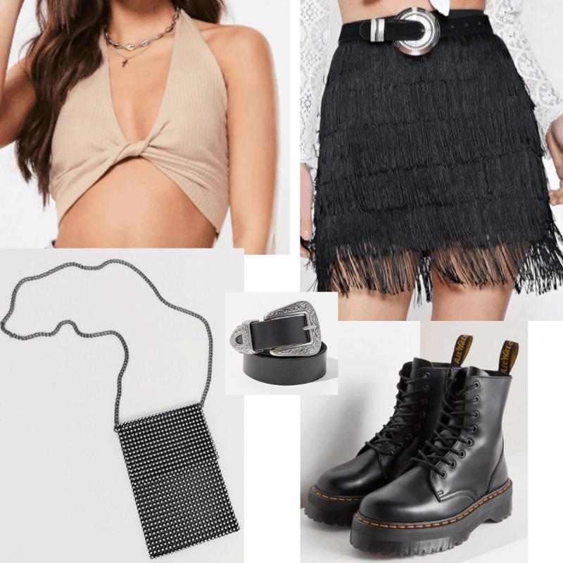 Coachella 2019 outfit with fringe skirt, nude crop top, black belt, platform docs, and studded crossbody bag