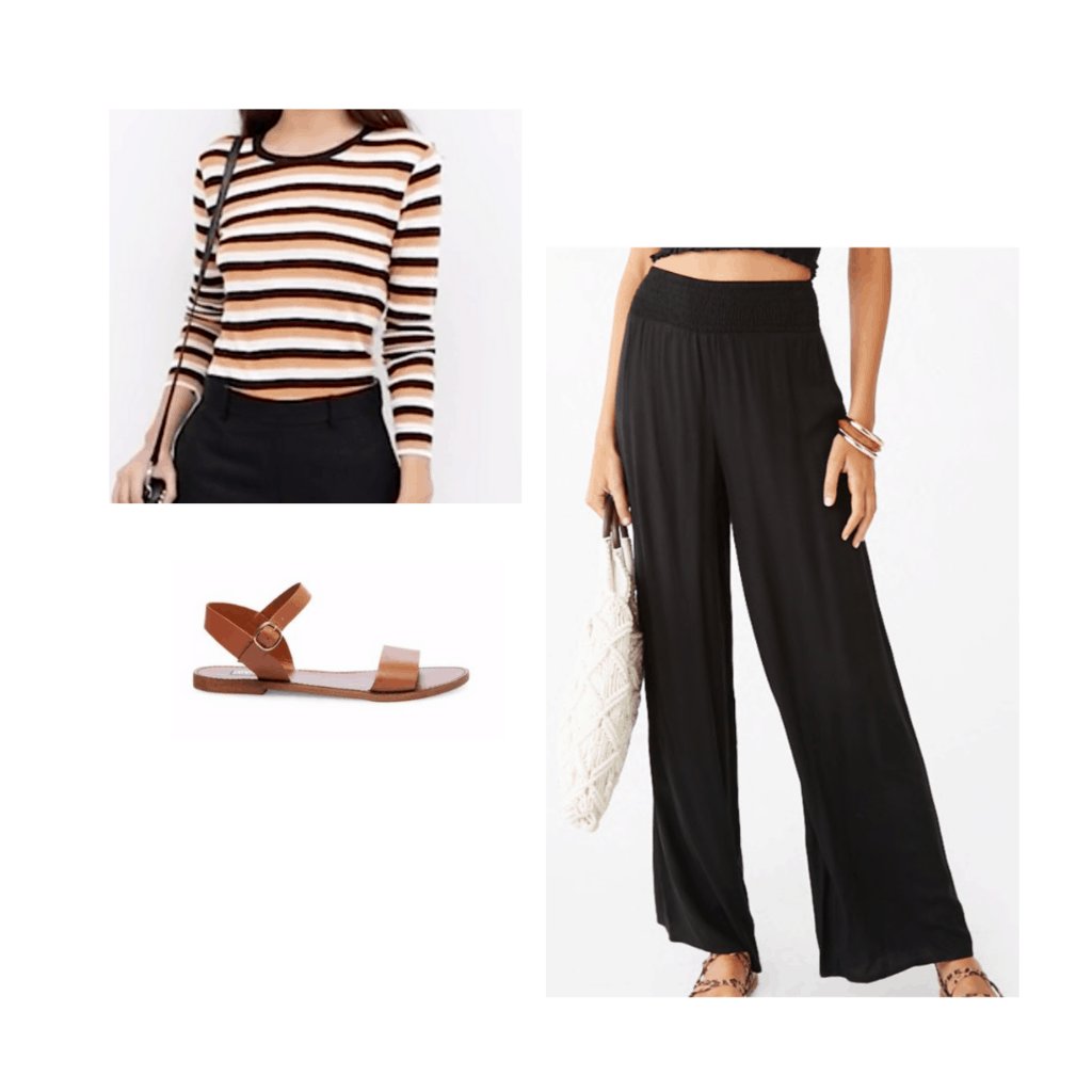 Blake Lively inspired outfit with black wide leg pants, striped top, and brown sandals