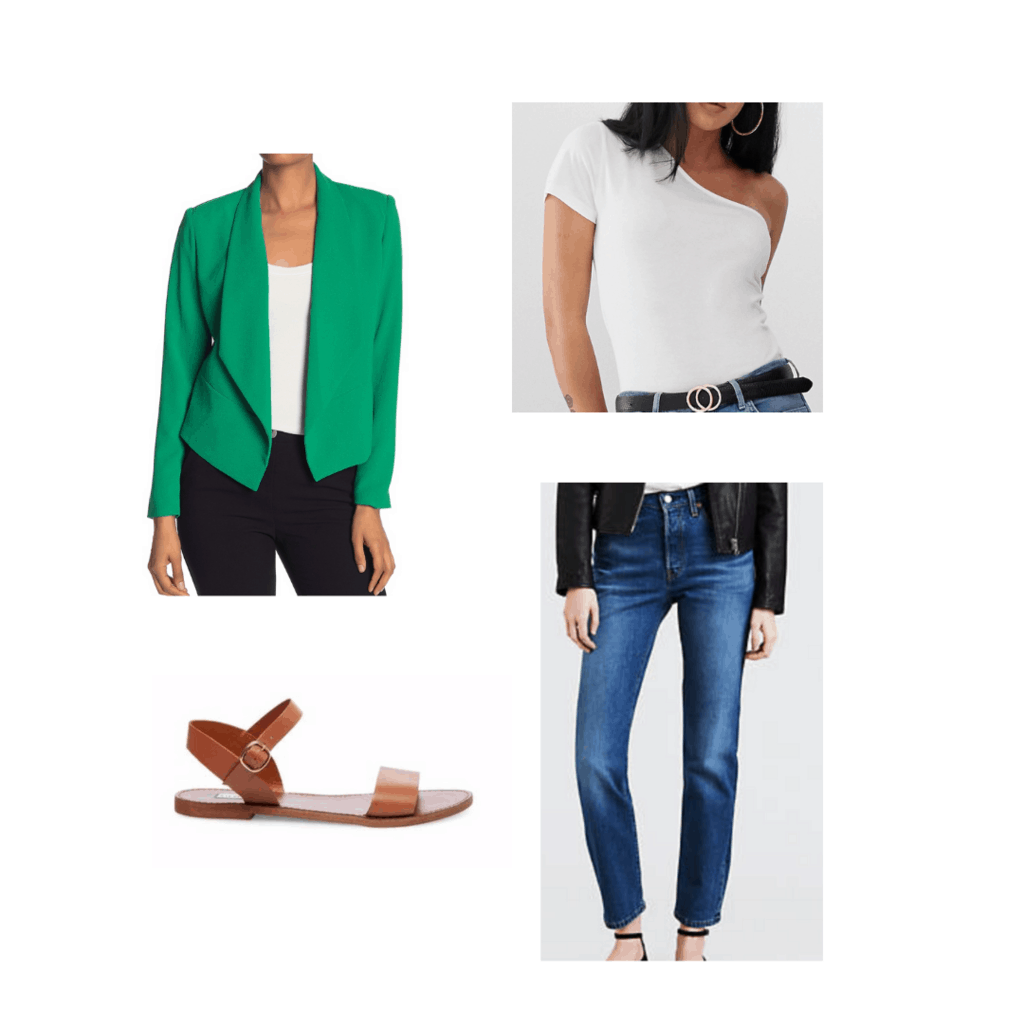 Blake Lively inspired outfit with green blazer, white off shoulder top, blue jeans, brown sandals