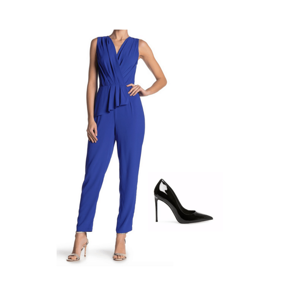 Blake Lively inspired outfit with blue jumpsuit and black heels