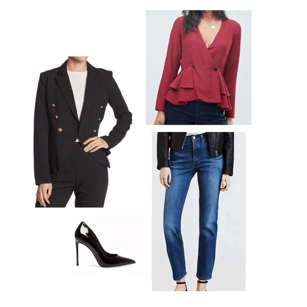 Blake Lively inspired outfit with black blazer, red top, dark wash jeans, black heels