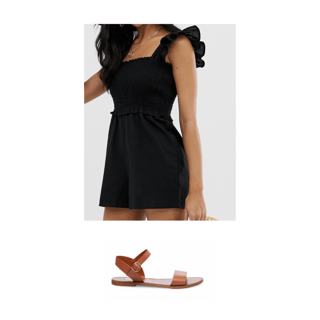 Blake Lively inspired outfit with brown sandals and black romper