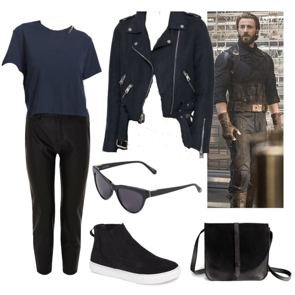 CAP. AMERICA OUTFIT #2 SUEDE JACKET, BLUE T SHIRT, COATED JEANS, BLACK SNEAKERS, SUNGLASSES AND BLACK BAG