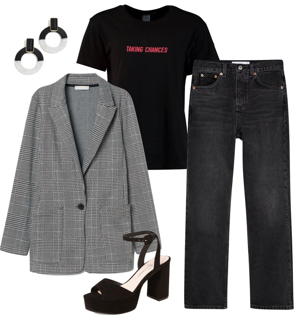 Camila Mendes Outfit: gray plaid blazer, black graphic slogan t-shirt, black and white hoop earrings, washed black straight leg jeans, and black ankle strap platform sandals