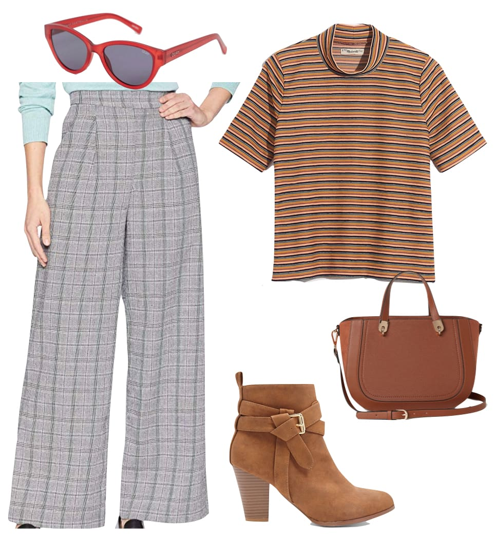 Emma Roberts Outfit: plaid wide leg pants, yellow striped short sleeve t-shirt, red cat eye sunglasses, brown handbag, and brown ankle booties