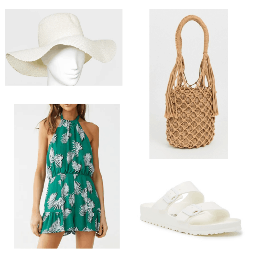 What to wear in Vietnam: Outfit idea with white floppy sun hat, straw bag, green leaf halter romper, white sandals