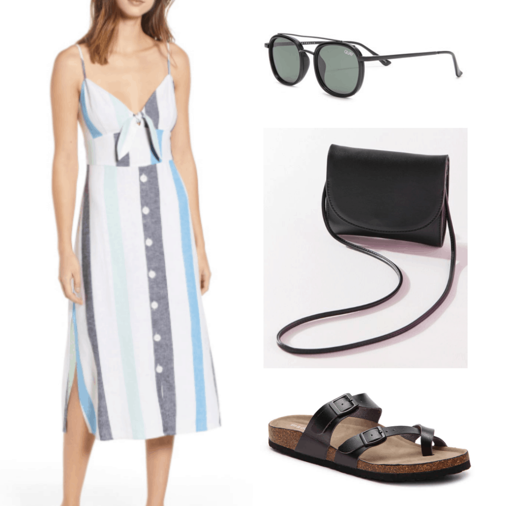 What to wear in Vietnam: Outfit idea with striped linen sundress, circular sunglasses, black crossbody bag, black sandals