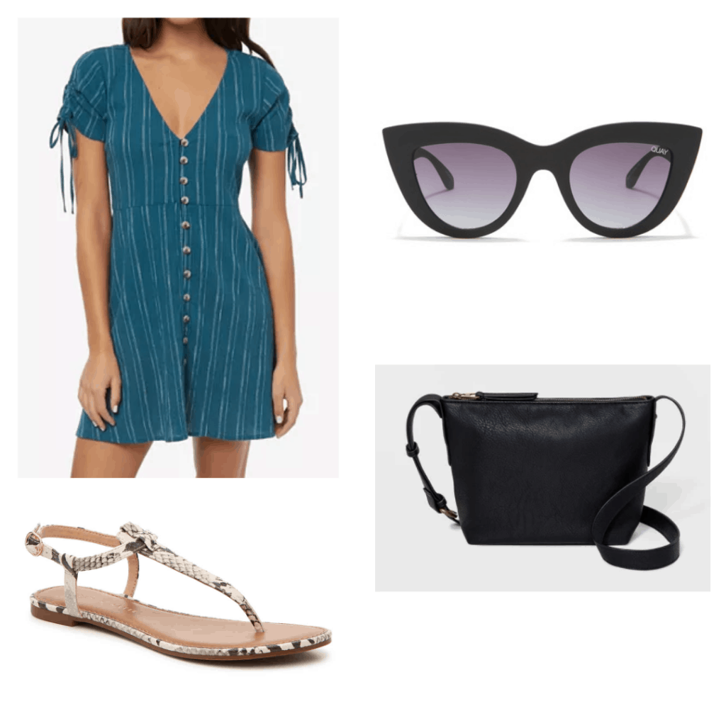 What to wear in Vietnam: Outfit idea with blue button-front dress, cat-eye sunglasses, simple sandals and crossbody bag