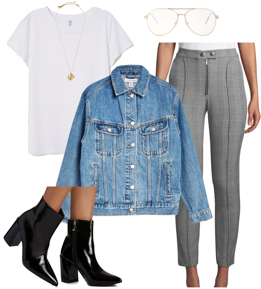 Jamie Chung Outfit: white t-shirt, long gold pendant necklace, clear aviator reader glasses, plaid skinny pants with zipper front, blue jean jacket, and black patent pointy toe ankle booties