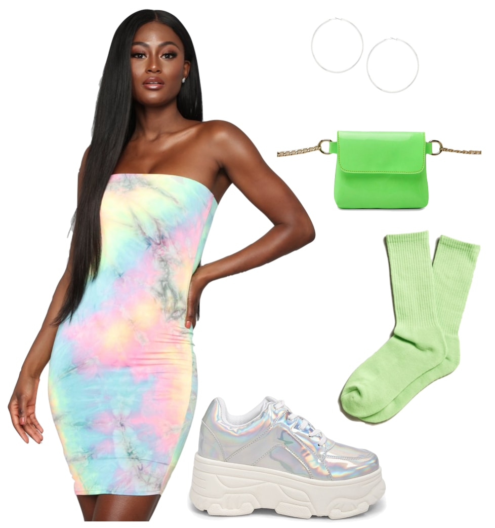 Justine Skye Outfit: multicolor tie-dye body con mini dress, neon green belt bag, neon green socks, oversized hoop earrings, and iridescent platform sneakers