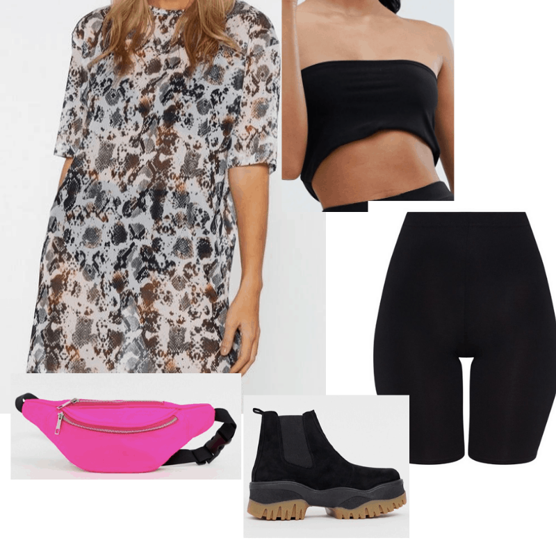 Coachella outfit 3: bike shorts, black crop top, neon bag, chunky boots, sheer overlay